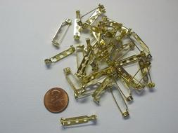 """1"""" Bar Pins Pin Backs for Jewelry Making Goldtone NEW Qty. 3"""