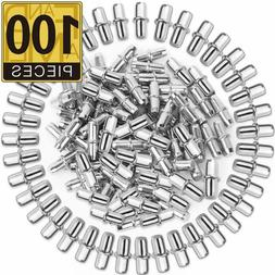 FANDAMEI 100 Pack Shelf Pins Metal Nickel Support Pegs for F