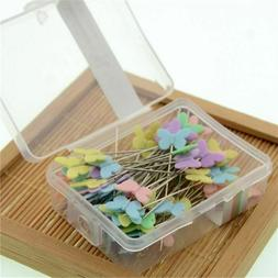 100pcs Head Sewing Pins Locating Flat With Flower Bow Button