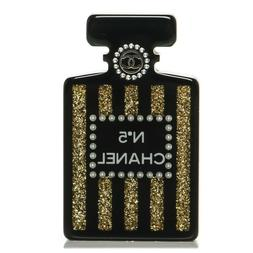 Chanel 17A Black Gold Glitter Lucite N5 Number 5 Pearl Perfu