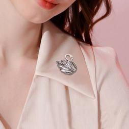 1pc Rhinestone Crystal Swan Pins and Brooches for Women Swan