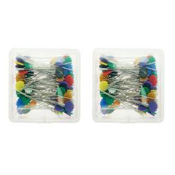 2 Boxed Straight Pins with Flower Head Colorful Dressmaking