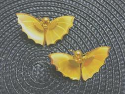 2 Gold Tone Butterfly Pins Iridescent Ivory Wings Standard S