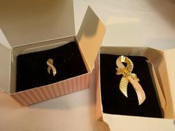 Avon 2 VTG Breast Care Pins Brooches 1992 Better Breast Care
