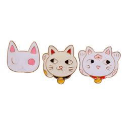 3pcs Japanese Style Cute White Cat Brooch Pins Fortune Cat B