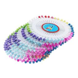 480Pcs 1.5inch Colorful Round Pearl Straight Head Pins Dress