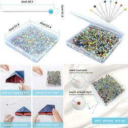 500Pcs Sewing Pins For Fabric, Straight Pins With Colored Ba