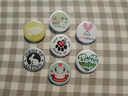 7 X Vegan and Against Animal Cruelty buttons