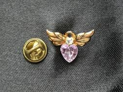 Avon Angel Heart October Birthstone Pin, Pink, Gold Tone, Wi
