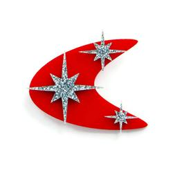 Atomic 50s Style Red Boomerang Brooch, Vintage Mid Century S