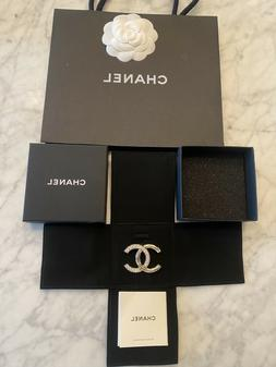 Authentic Chanel Classic Gold-Tone CC Logo Metal Brooch Pin