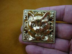 large cat head with bow ribbon textured square brass pin pe