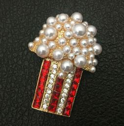 Betsey Johnson White Faux Pearls Crystal Popcorn Brooch Pin