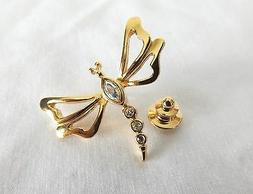 Avon Dragonfly Pin with Rhinestones, Gold Tone ~  Nature's G