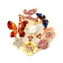 Betsey Johnson Enamel Crystal Butterfly Flower Insects Brooc
