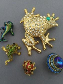 Enameled Animal Brooches/PINS frogs ladybug dolphin bird and