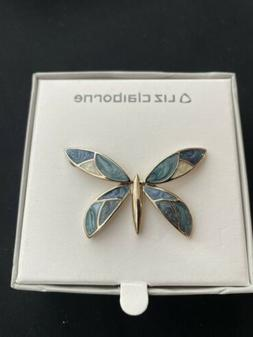 Estate Liz Claiborne Butterfly Pin Brooch Gold With Ivory &