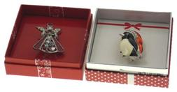 Action Alley Fashion Broach Pin Set 2 Penguin Angel Gift Box