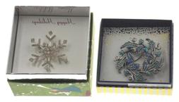 Action Alley Fashion Broach Pin Set of 2 Snowflake & Wreath