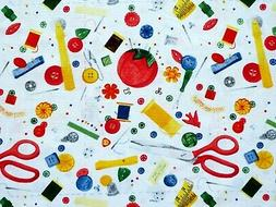FAT QUARTER SEWING NOTIONS FABRIC BUTTONS PIN CUSHION THREAD