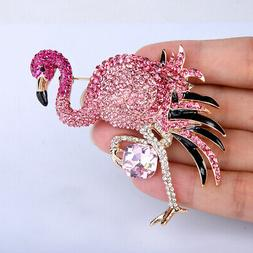 Flamingo Brooch Women Animal Pin Pink Crystal Gold Party Jew