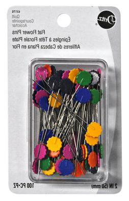 Dritz Flat Flower 2 Inch Assorted Sewing Pins 100 Count