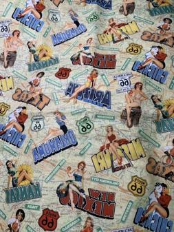 FQ Route 66 Pin Up Girls States Map Cities Road Cotton Fabri