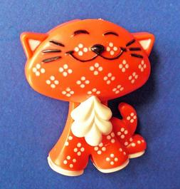 Avon FRAGRANCE GLACE Pin PENDANT Vintage CALICO Kitty CAT RE