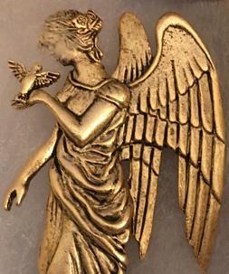 Gold Tone Angel with Bird Brooch Pin Excellent Condition