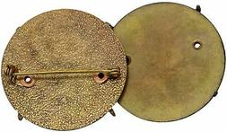 Gold Tone Hammered Disc Finding Brooch Pin Back Jewelry Maki