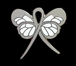 Gray Butterfly Pin Awareness Ribbon Lung Brain Cancer Cause