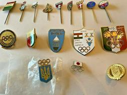 Group of 18 Olympic NOC Pins Generic 1980s