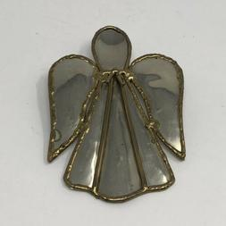 """Handcrafted Angel Pin Gold/Silver Tone Metal Work 3 1/4"""""""