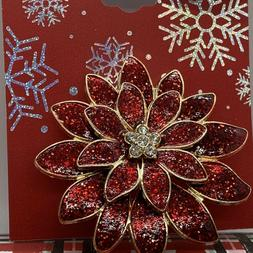 Holiday Brooch Women's Brooch Holiday Pin Gold Tone Red Poin