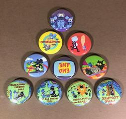"""Itchy and Scratchy 1"""" Pin Button lot Simpsons Cartoon Violen"""