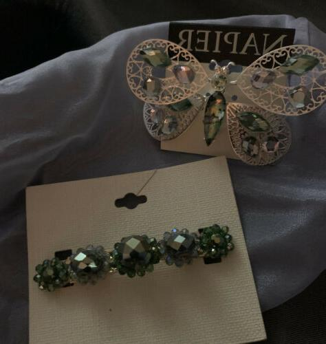 butterfly pin and jeweled hair barrett