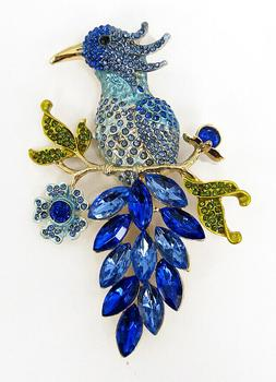Large Blue Crystal Peacock Brooch Pin for Women - NEW