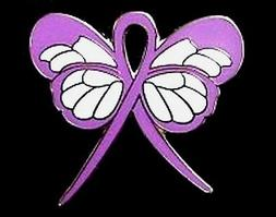 Lavender Awareness Ribbon Pin Butterfly Cancer Cause Walks A
