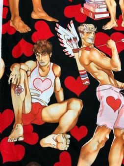 Alexander Henry Looking For Love Pin Up Men & Red Hearts on
