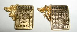 LOT OF 2 Gold tone Lucky Angel BINGO Card Game Hobby LAPEL P