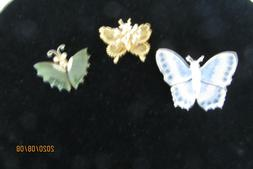 LOT OF 3 GOLD TONE AND SILVER ENAMEL FILIGREE BUTTERFLY BROO