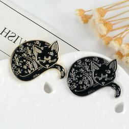 Lovely Sleeping Cat Shaped Lapel Pins Animal Brooches for Cl