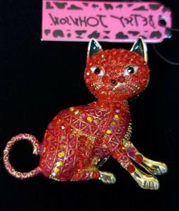 New Betsey Johnson Red Enamel Crystal Exquisite Cat Animal C