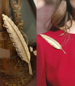 New Design 1pc Gold Plated Feather Shape Party Pins Brooch F