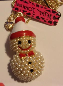 New Betsey Johnson Red & White Snowman Pendant Necklace & Br