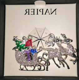 New Napier Silver Tone & Simulated Crystal Reindeer Sleigh P