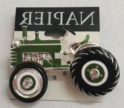 New Napier Silver Tone Simulated Crystal Green Tractor Pin