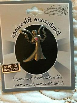 """NWT - BIRTHSTONE ANGEL PIN - October, Pewter-tone, 1"""" Tall"""