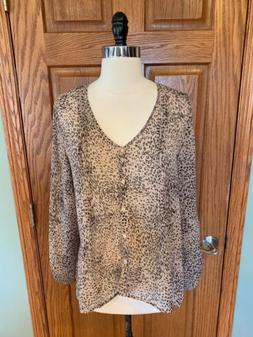 Pins And Needles M Tunic Blouse Anthropologie Shear Animal P