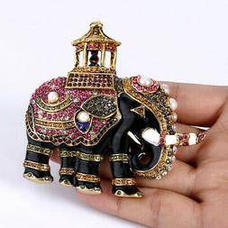 Retro Pearl Elephant Animal Brooch Pin Vintage Antiqued Gold